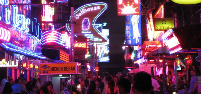 neon signs in Bangkok's nightlife at Silom