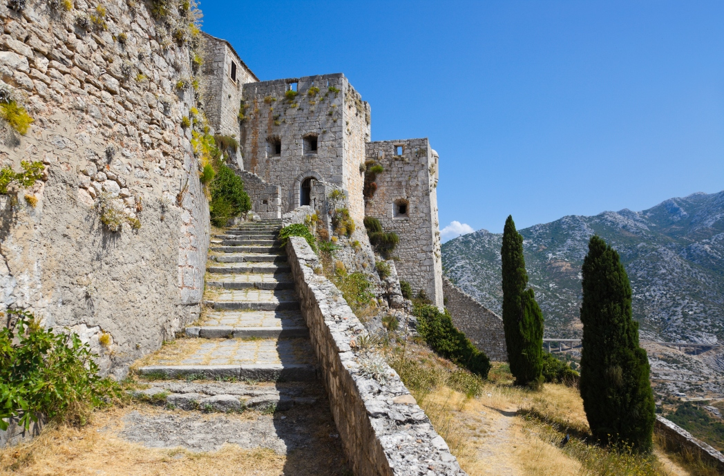 Ancient historic fortress overlooking beautiful views