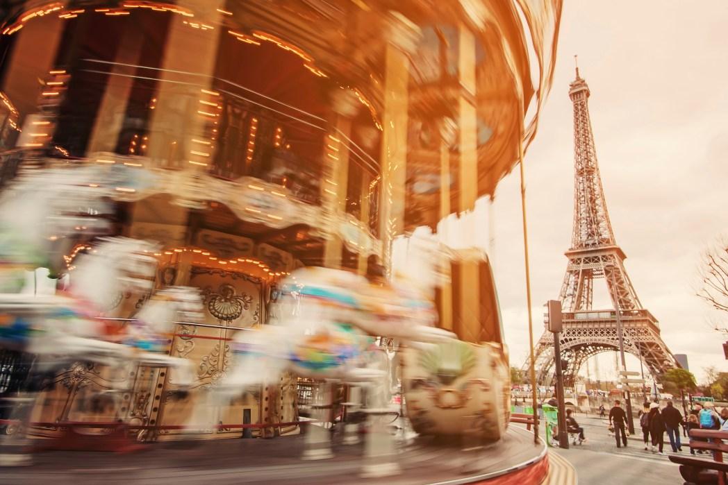 A carousel near the Eiffel Tower in Paris