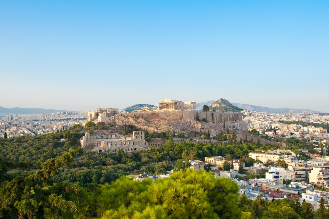 far view of the Acropolis in Athens in the background October travel