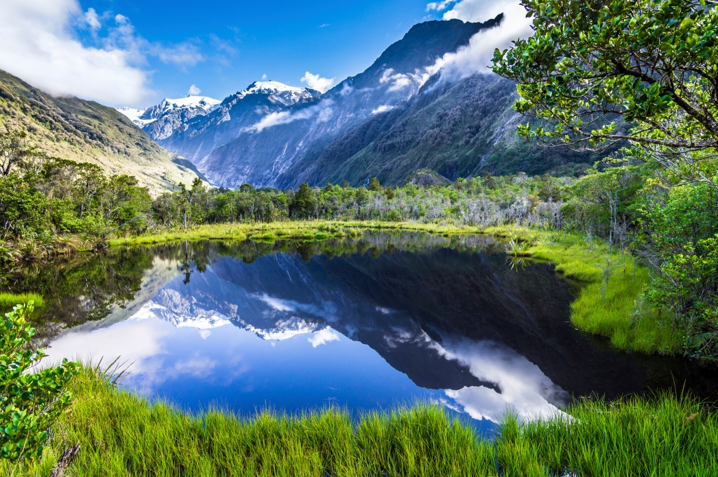 A lake surrounded by lush greenery and snow-capped mountains