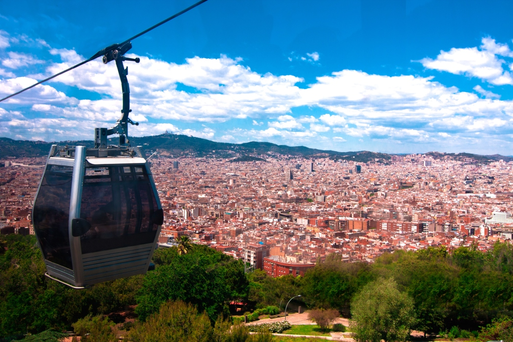 A cable car overlooking the city of Barcelona