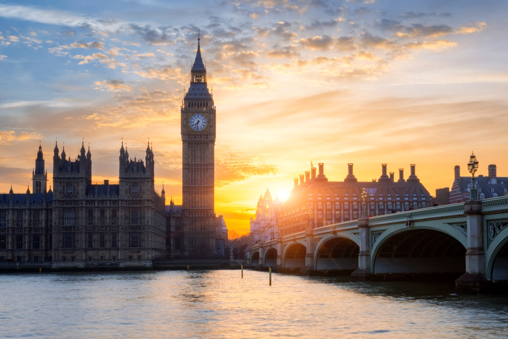 Sunset over London Big Ben & river