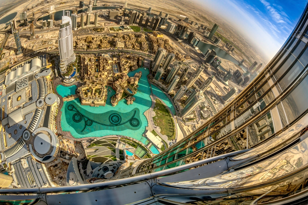 View From Very High Floors Of Burj Khalifa Overlooking Other Buildings And Surrounds