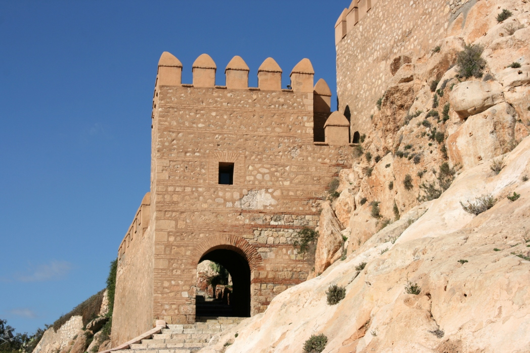 Close-up of the ancient fortress in Almeria