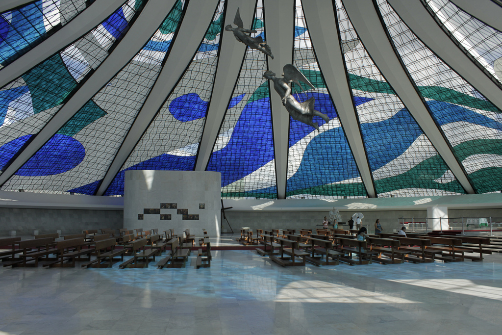 Abstract designs on stained glass dome of the Cathedral of Brasilia
