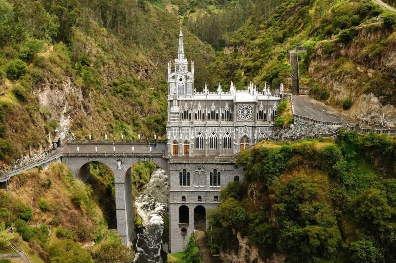 Exterior of Las Lajas Sanctuary, precariously towering over canyon