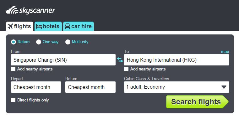 Skyscanner Cheapest Month feature