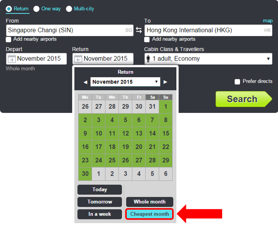 Select 'Cheapest month' instead of 'whole month'!