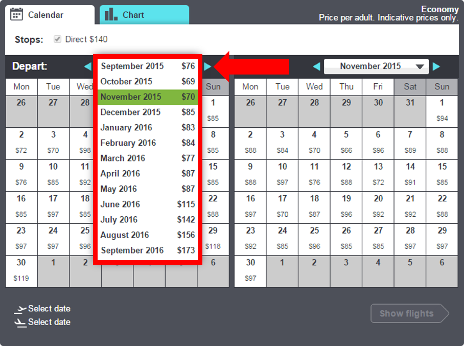 Compare the lowest price for each month by accessing the drop-down menu!