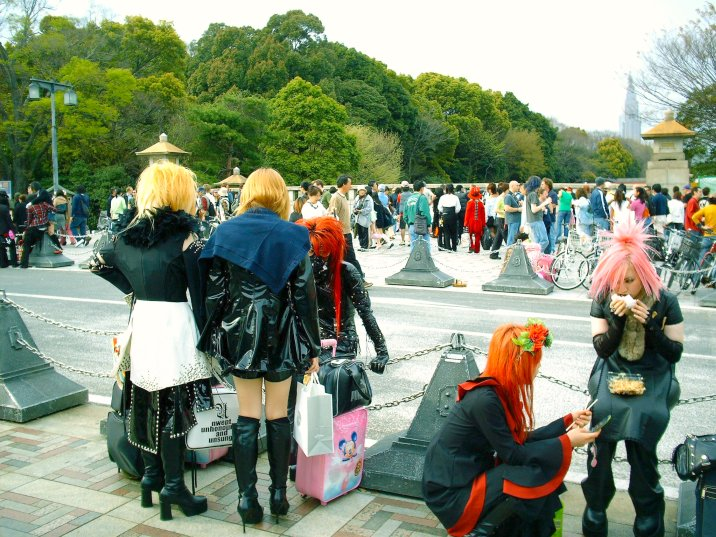 Cosplayers hanging out in a park with road and trees in background