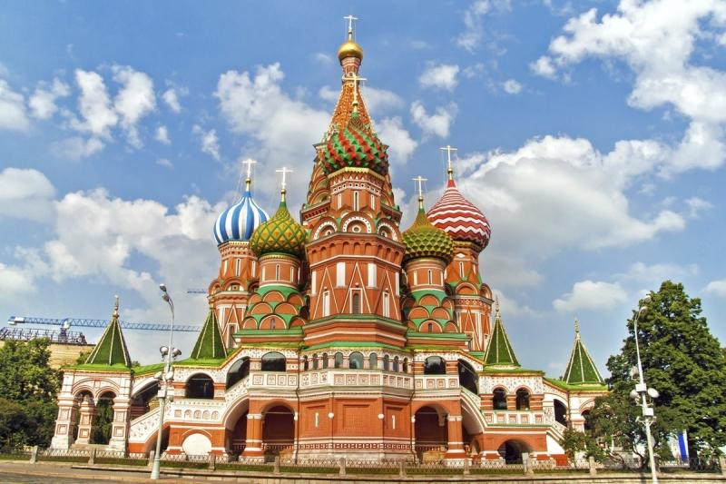 Exterior of Saint Basil's Cathedral, with colourful domes and spires