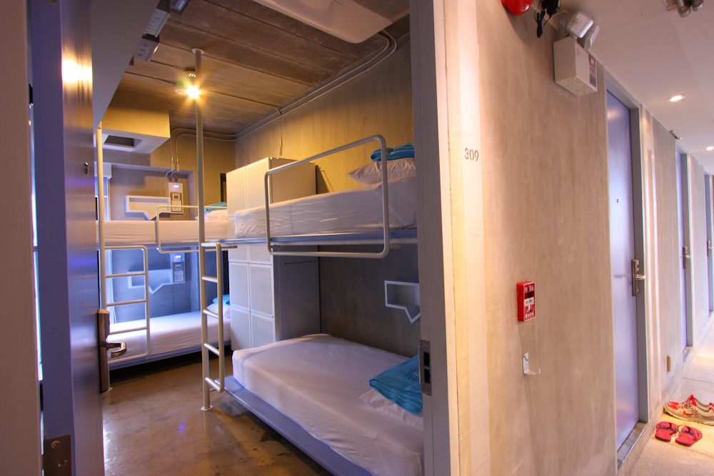 Dormitory room with bunk beds in hostel