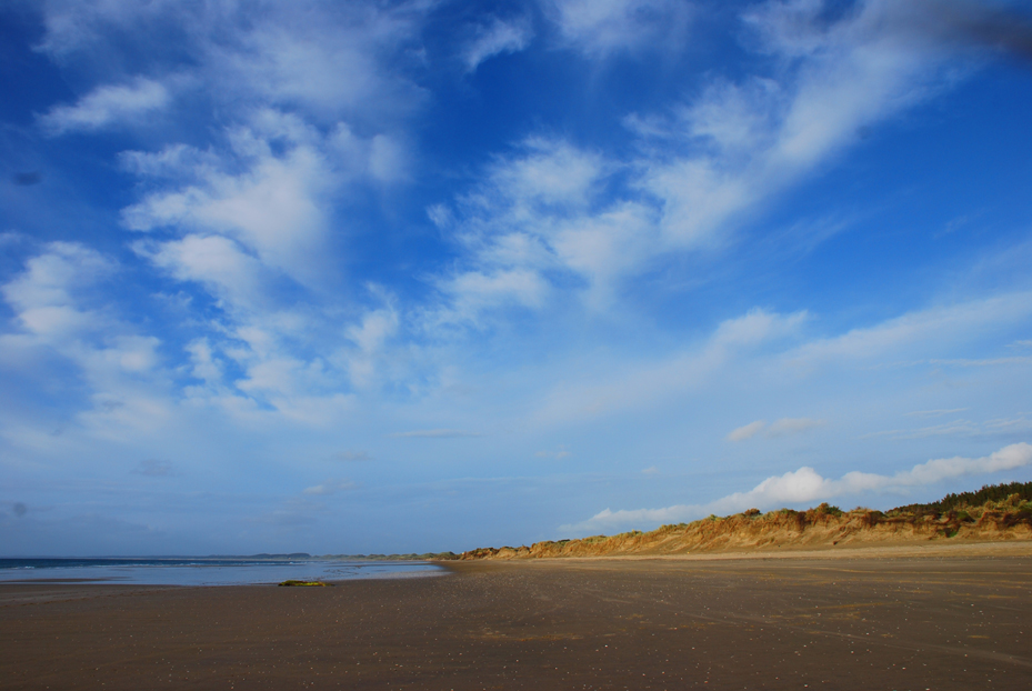 Bright blue skies over a stretch of sand