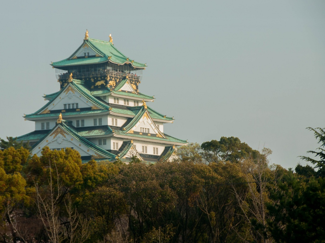 A gleaming Osaka castle stands tall in the background, with its green roofs with upturned corners and gold detailing.