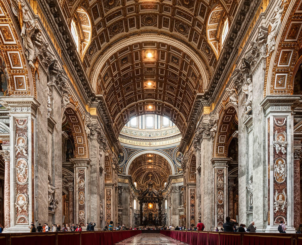 St Peter's Basilica adorned with gold paneling, frescos and marble columns
