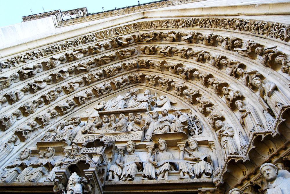 Notre-Dame Paris gothic door details