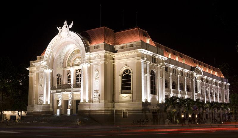 The beautiful Saigon Opera House lighting up at night. Photo credit: IRM 2014