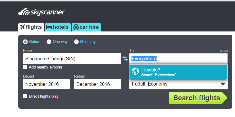 Skyscanner Search Everywhere feature