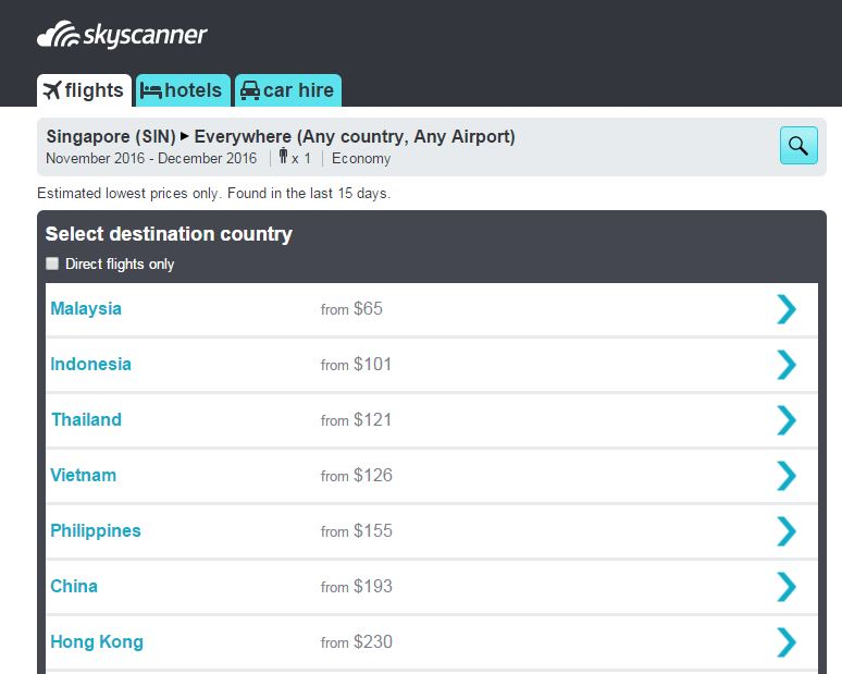 "Just input your travel dates and click ""Search Everywhere"""