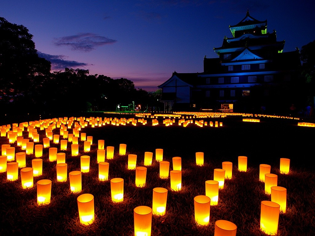 Lanterns lit up in front of a Japanese castle