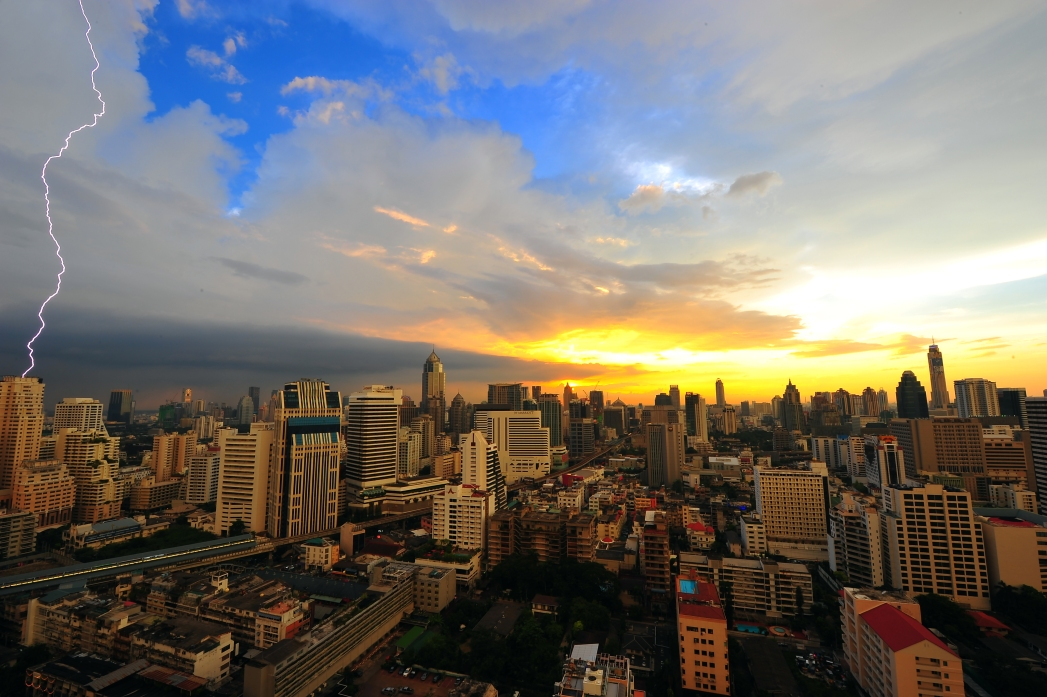 Bangkok city view with lightning and sunset