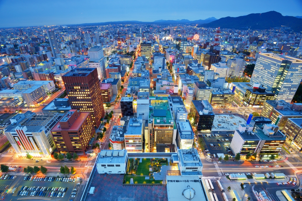 An aerial view of downtown Sapporo October travel