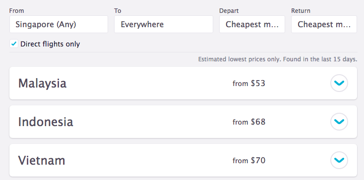 A list of countries and their respective lowest flight prices.