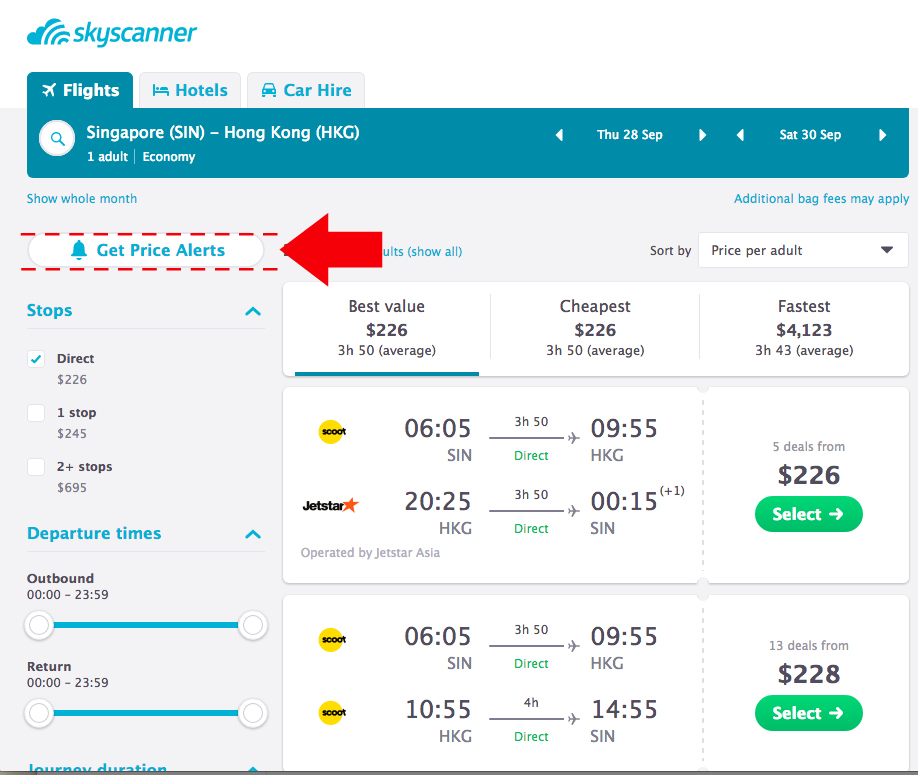 Monitor flight prices with Skyscanner Price Alerts
